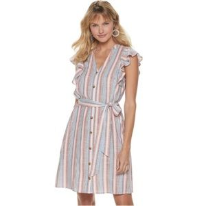Women's ELLE™ Flutter-Sleeve Shirt Dress